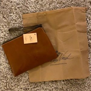 PATRICIA NASH leather wristlet with dust bag